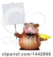 3d Brown Cow Character Holding A Banana On A White Background