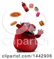 3d Red Bull Character Juggling Junk Food On A White Background