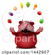 3d Red Bull Character Juggling Produce On A White Background