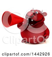 3d Red Bull Character Using A Megaphone On A White Background
