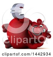 Poster, Art Print Of 3d Red Bull Character On A White Background