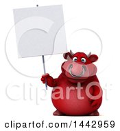 3d Red Bull Character Holding A Blank Sign On A White Background
