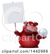 3d Red Bull Character On A White Background