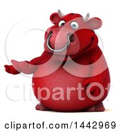Clipart Of A 3d Red Bull Character Presenting On A White Background Royalty Free Illustration