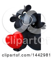 Poster, Art Print Of 3d Black Bull Character On A White Background