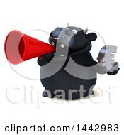 3d Black Bull Character Holding A Euro Symbol On A White Background