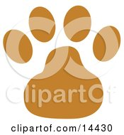 Dog Clip Art - Brown Dog Paw Print Clipart Illustration