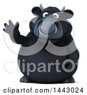 3d Black Bull Character Waving On A White Background