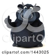 3d Black Bull Character Holding Up A Middle Finger On A White Background