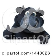 3d Black Bull Character Giving A Thumb Up On A White Background