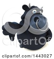 3d Black Bull Character Giving A Thumb Down On A White Background