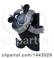 3d Black Bull Character Looking Around A Sign On A White Background