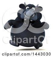 3d Black Bull Character Running On A White Background