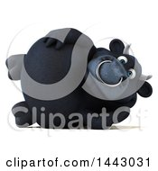 3d Black Bull Character Resting On His Side On A White Background
