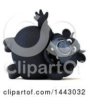 3d Black Bull Character Waving And Resting On His Side On A White Background