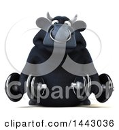 3d Black Bull Character Working Out With Dumbbells On A White Background