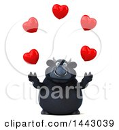3d Black Bull Character Juggling Hearts On A White Background