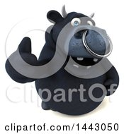 Clipart Of A 3d Black Bull Character Giving A Thumb Up On A White Background Royalty Free Illustration