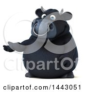 Clipart Of A 3d Black Bull Character Presenting On A White Background Royalty Free Illustration