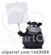 3d Black Bull Character Holding A Blank Sign On A White Background