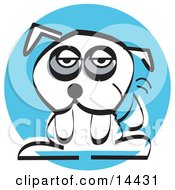 Tired White Mutt Dog Clipart Illustration by Andy Nortnik