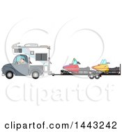 Cartoon Caucasian Man Driving A Truck And Camper And Towing Snowmbiles On A Trailer