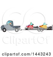 Cartoon Caucasian Man Driving A Truck And Towing Snowmobiles On A Trailer