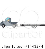 Cartoon Caucasian Man Driving A Truck And Towing A Trailer