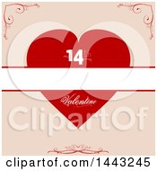 Poster, Art Print Of Red Valentine Heart With 14th And A Blank Banner Over Beige