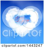 Heart Shaped Valentine Cloud With Love Text In A Blue Sky