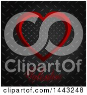 Clipart Of A Red Heart And Valentine Text Over Diamond Plate Metal Royalty Free Vector Illustration