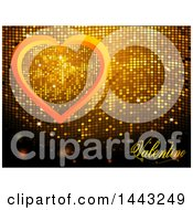 Golden Mosaic With Valentine Text And A Heart