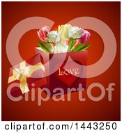 Clipart Of A 3d Love Valentines Day Or Anniversary Gift Box With Tulip Flowers On Red Royalty Free Vector Illustration