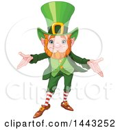 Clipart Of A St Patricks Day Leprechaun Welcoming Royalty Free Vector Illustration by Pushkin