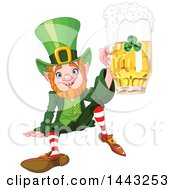 Clipart Of A St Patricks Day Leprechaun Sitting On The Ground And Holding Up A Beer Royalty Free Vector Illustration