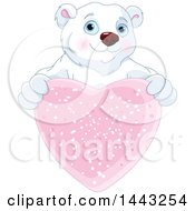 Clipart Of A Cute Polar Bear Holding Out A Sparkly Pink Valentine Heart Royalty Free Vector Illustration