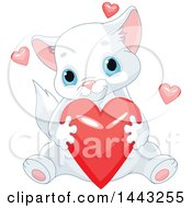 Clipart Of A Cute Blue Eyed Kitten Hugging A Red Valentine Heart Royalty Free Vector Illustration