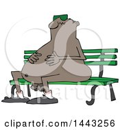 Cartoon Chubby Nude Black Man Wearing Sunglasses And Sitting On A Park Bench