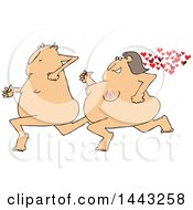 Cartoon Streaking Chubby Nude White Woman Chasing A Man With Hearts