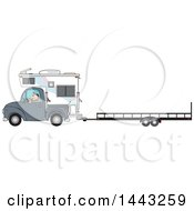 Cartoon Caucasian Man Driving A Truck And Camper And Towing A Trailer