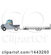 Clipart Of A Cartoon Caucasian Man Driving A Truck And Towing A Trailer Royalty Free Vector Illustration by djart