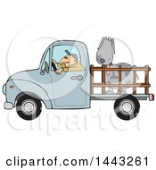 Clipart Of A Cartoon White Man Driving A Blue Pickup Truck And Hauling A Big Dog Royalty Free Vector Illustration