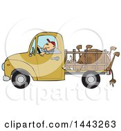 Clipart Of A Cartoon White Man Driving A Pickup Truck And Hauling A Dead Cow Royalty Free Vector Illustration