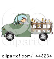 Clipart Of A Cartoon White Man Driving A Green Pickup Truck And Hauling Turkeys Royalty Free Vector Illustration