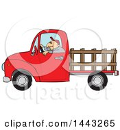 Cartoon White Man Driving A Red Pickup Truck With A Stakeside Trailer