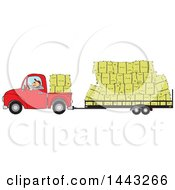 Cartoon White Man Driving A Red Pickup Truck And Hauling Hay Bales On A Trailer