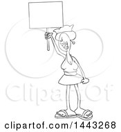 Clipart Of A Cartoon Black And White Lineart Angry Woman Shouting Wearing A Pussy Hat And Holding A Blank Sign At The Womens March Royalty Free Vector Illustration