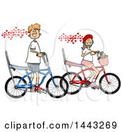 Poster, Art Print Of Cartoon In Love Caucasian Boy And Girl Riding Bikes With Hearts