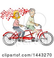 Poster, Art Print Of Cartoon In Love Caucasian Couple Riding A Tandem Bike With Hearts