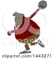 Clipart Of A Cartoon Black Man Bowling Royalty Free Vector Illustration